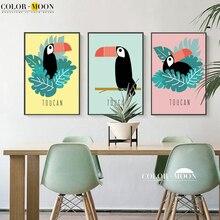 COLORMOON Toucan Nordic Plakát Wall Umělecké plátno Tapety a nápisy Animal Pop Art Wall Obrázky pro Obývací pokoje Decor