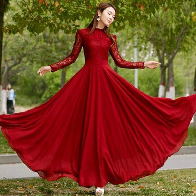 c4f9ad550a72 Women Summer Dress 2018 New Autumn Women Frill Collar Red Lace Chiffon Big  swing Long sleeve maxi dresse evening party dresses