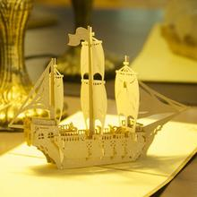 3D Pop Up Greeting Card Handmade Ship Birthday Easter Anniversary Christmas Bless Gift 3pcs/lot