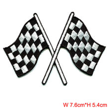 Checkered flag chequered auto car racing rockabilly applique iron on patch