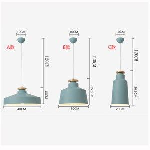 Image 2 - Creatieve Hout E27 Hanglampen 110V 220v voor Persoonlijkheid Decor Hout & Metaal lampenkap Opknoping lamp wit zwart armatuur