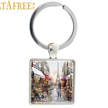 TAFREE Art Picture Eiffel Tower Keychain Keyring France Lovers Stroll In The Streets Of Paris Romantic Jewelry  E525
