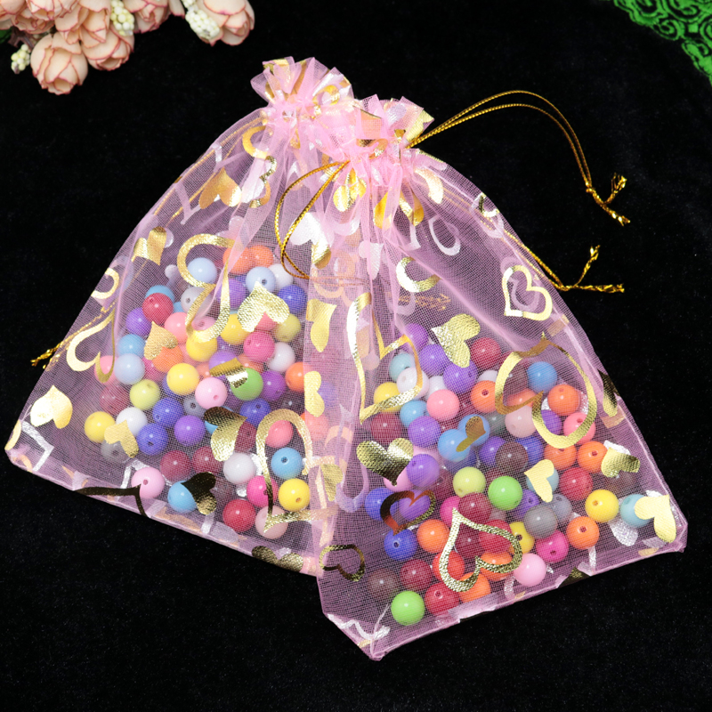 100pcslot 17x23cm pink organza bag favor heart design wedding gift bag christmas cosmetics gift