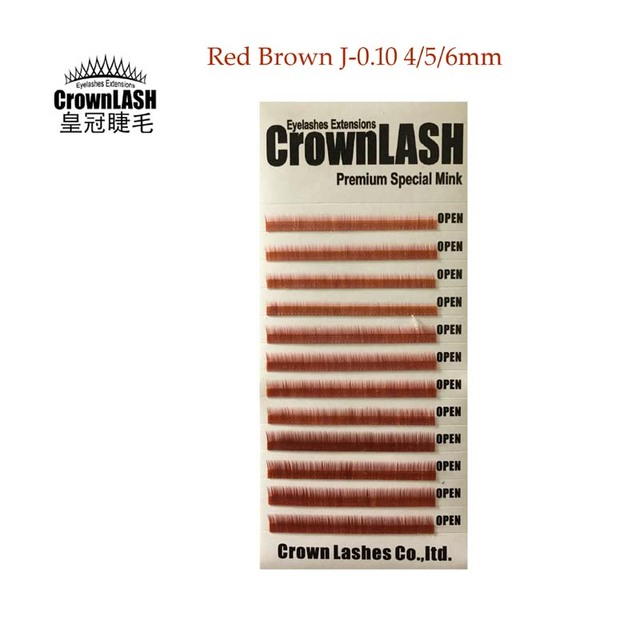 CrownLash J-0.10-4 Marrom Vermelho, 5, 6mm Inferior Lash Extensão Sobrancelhas Sob Cílios Naturais Curto Fina