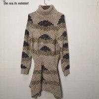 Новый женский пуловер Водолазка высокого класса ремесло шелк вязаный свитер платье теплое с длинным рукавом нерегулярное с рыбий хвост пла