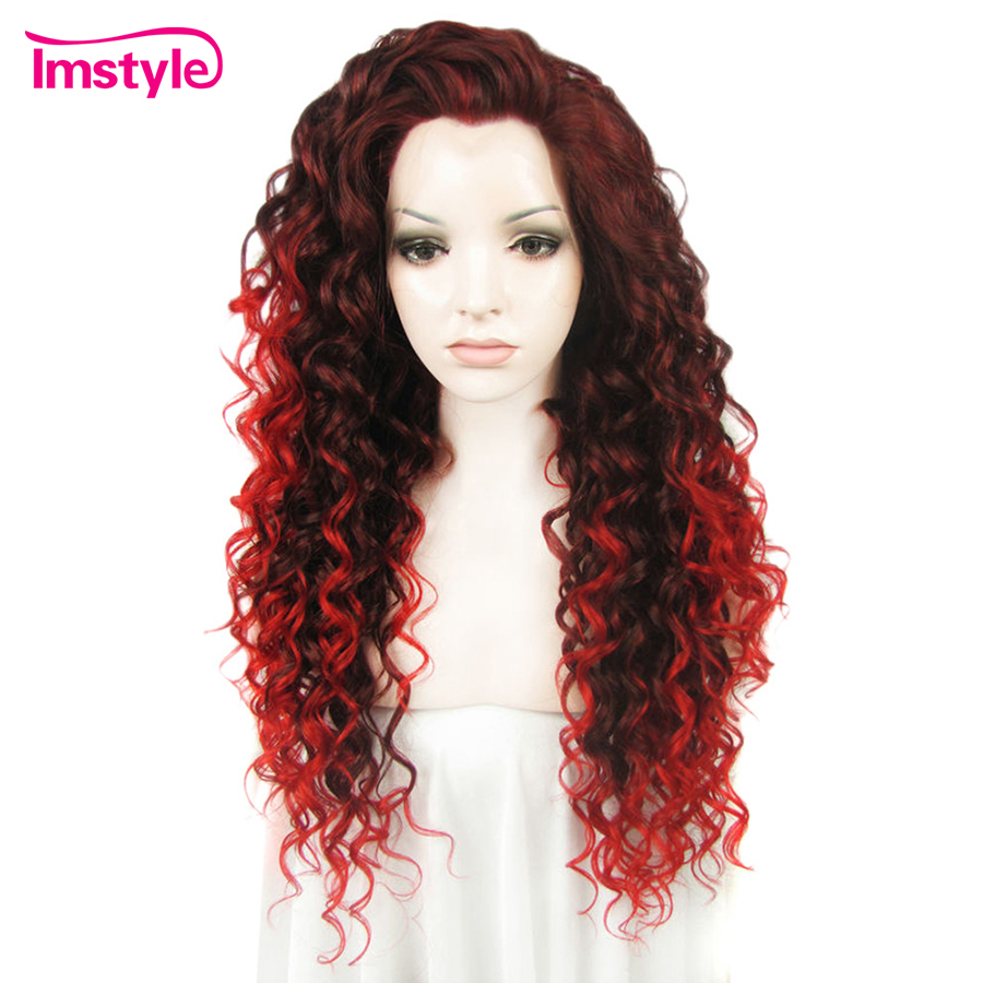 Imstyle Lace Front Wig Curly Long Auburn Red Ombre Wigs For Women Heat Resistant Fibre 26