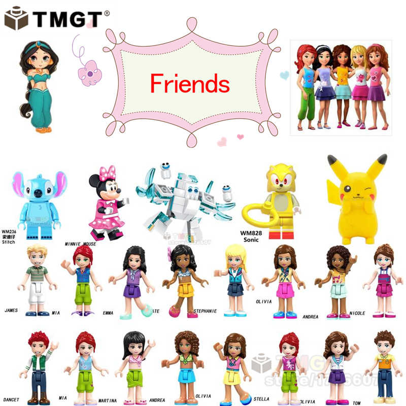 playmobil Girls friends Mickey Mouse Princess Marshmallow and snowgies Stitch ET Stay puft Gizmo Building Blocks Children Toys