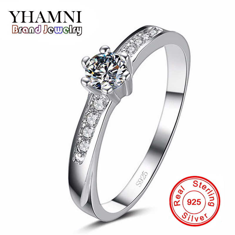 Big Promotion Real 925 Pure Silver Wedding Rings for Women 0.5 Carat CZ Diamant Engagement Ring Silver Jewelry Wholesale AR068 big promotion 100% original 925 silver wedding rings for women natural solitaire 6mm cz diamant engagement rings jewelry rj003