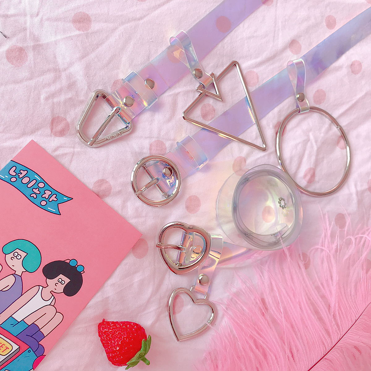 Kawaii Candy Color Heart Laser Belt Clear PVC Chic Aesthetic Love Harajuku Waistband