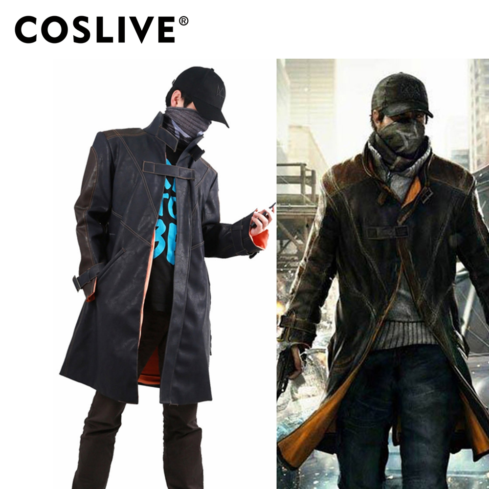 Coslive Costumes Aiden Pearce Coat Watch Dogs Jacket Cosplay Costume For Men Adult watch dogs aiden pearce cap costume cosplay watch dogs hat high quality baseball cap