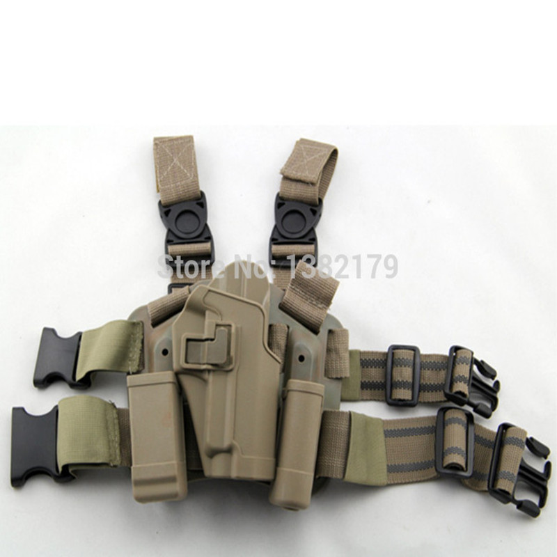 ФОТО For Sig 220/226/228/229 Tactical Airsoft Drop Leg Right handed holster Set W/ Panel Mag Flashlight Pouch Belt Loop paddle Sand