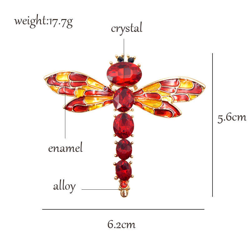 CINDY XIANG 3 Colors Choose Crystal Dragonfly Brooches for Women Cute  Enamel Insect Brooch Pin Dress Coat Accessories Good Gift