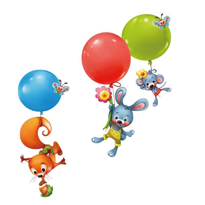 Cartoon animal Wall Sticker Squirrel rabbit balloon Art kids room nursery deHFPF
