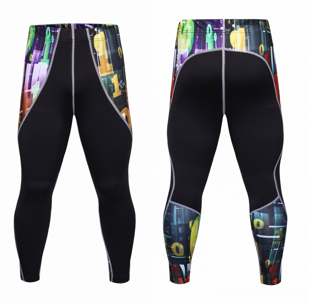 Men Casual Compression Pants Leggings Base Layer Fitness Trousers Tights Workout Wear Male Splicing Skinny Sweatpants