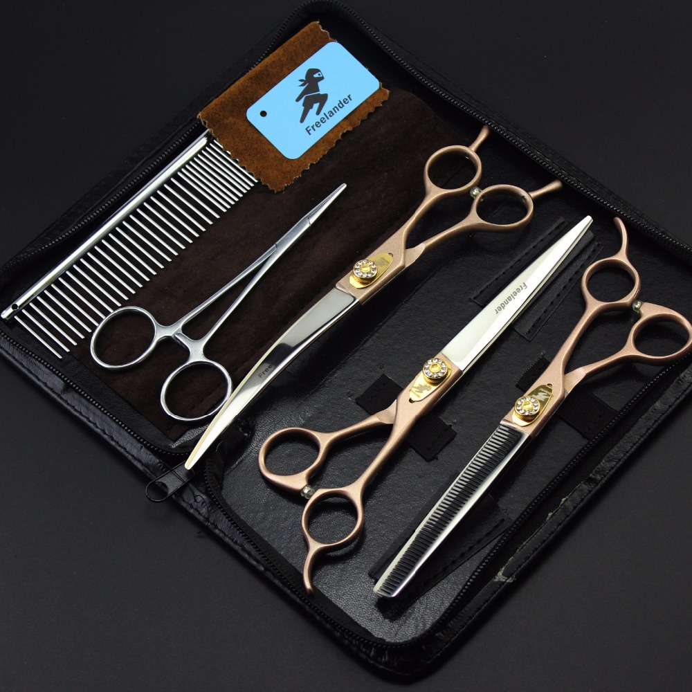 Top Quality Japan 440C 7 Inch Professional Pet Dog Grooming Scissors Straight Thinning Curved Shears Comb