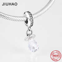Real 925 Sterling Silver Cute Pacifier Dangle Charm With Clear CZ Fit Original Pandora Bracelet Pendant For Girl Fine Jewelry