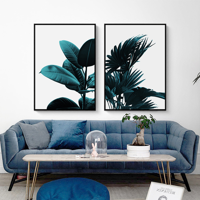 Nordic Modern Green Plant Canvas Painting Photography Tropical Banana Leaf Poster Room Mural Monstera Wall Picture Decoration