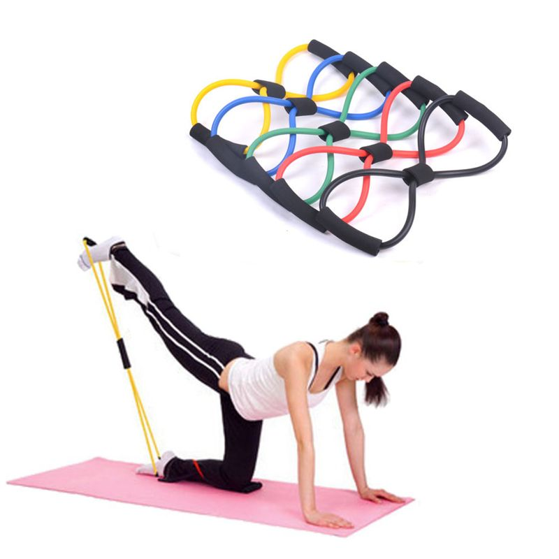 Resistance Muscle Chest Expander Rope 8 Type Workout Fitness Exercise Yoga Tube Sports Pulling Exerciser Fitness Equipment 1pcs