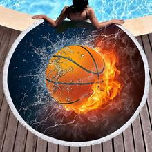 3D Basketball Round Beach Towel Sports Bath Microfiber Fabric 150cm Size