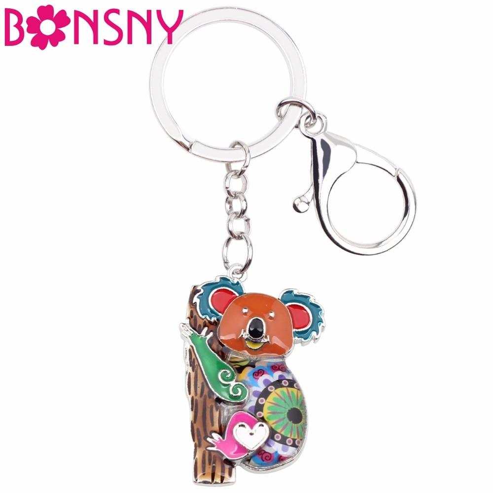 Bonsny Enamel Australia Koala Bear Key Chain Keychains Rings Fashion Animal Jewelry For Women Girls Gifts Handbag Car Charms New