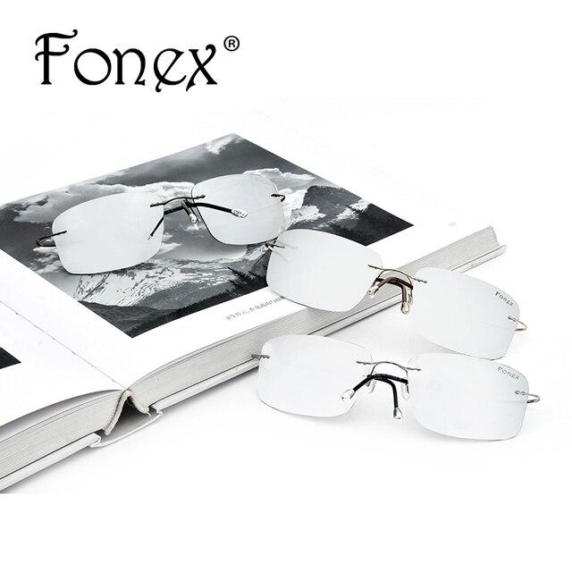 Fonex Rimless Titanium Polarized Women Sunglasses
