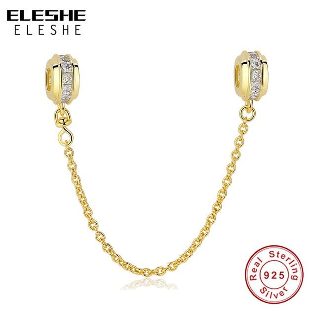 e6af329f1 100% 925 Sterling Silver Pave Clear CZ Inspiration Safety Chain Stopper Beads  Charms Fit Original Pandora Bracelet DIY Jewelry