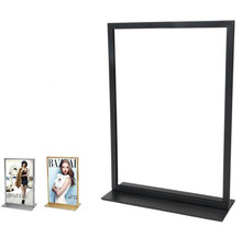 2018 New style Double-sided poster stand A3&A4 metal cafe table sign advertising promotion desk display stand rack free shipping metal table white paint poster stand poster display banner stand sign stand a4 a3 tabletop display