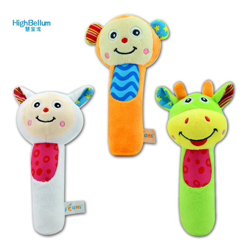 3pcs/lot Baby Plush Toy Rattles Soft Hand Bell Animal Model Infant 0-36 Months Soft Educational Musical Soft Baby Teether