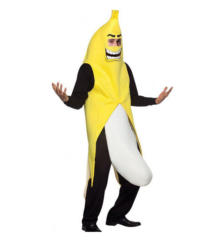 Free Shipping Men Cosplay Adult Fancy Dress Funny Sexy Banana Costume Novelty Halloween Christmas Carnival Party Costume Possessing Chinese Flavors Holidays Costumes