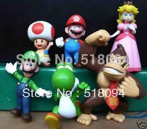 Super Mario Bros Luigi Donkey Kong Peach Toshi Mushroom PVC Action Figures Toys 6pcs/set SMFG245