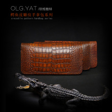 OLG.YAT Vegetable tanned leather wallet handmade purse mens bag women handbag zipper Crocodile pattern men wallets retro pure