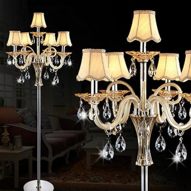 Large Floor Lamp Standing 5 Arm E14 E12 Led Candle Lights Wedding Crystal