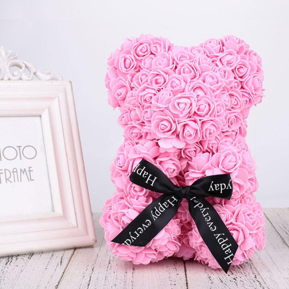 Искусственные цветы розы Медведь собака кролик Мопс юбилей день Святого Валентина подарок на день рождения мать подарок Свадебная вечеринка украшение - Цвет: 40CM Pink Bear