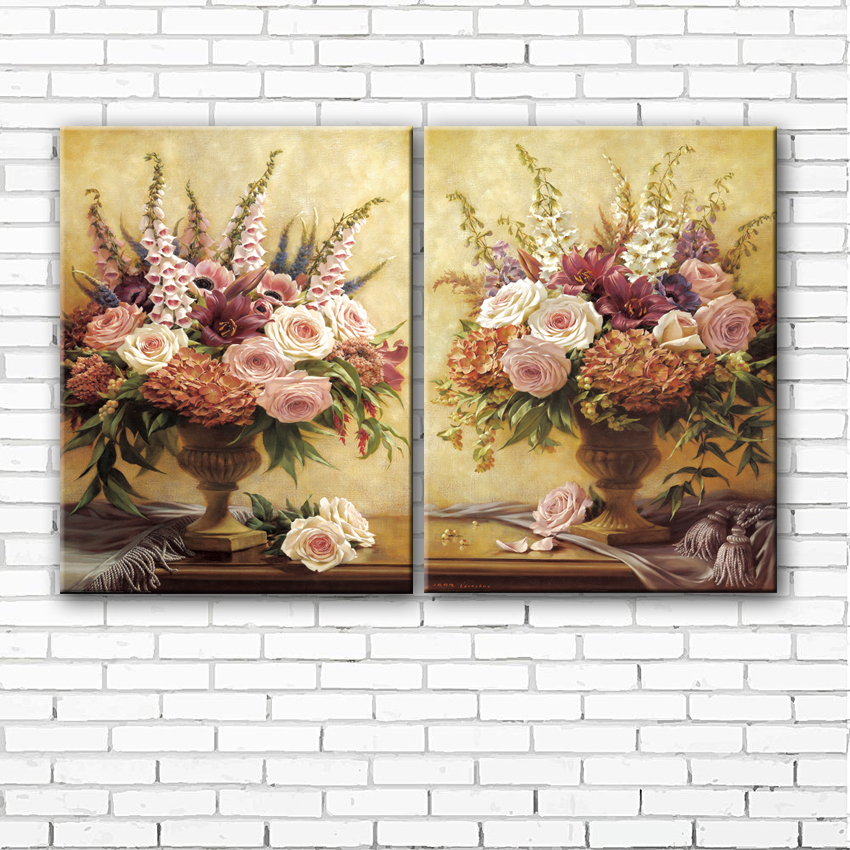 ②pastoral lily peony flower arranging canvas printings oil painting ...
