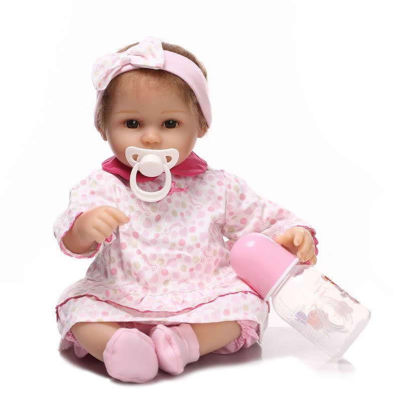 Lovely Silicone 17 Inch Reborn Baby Doll Girl Lifelike Realistic Newborn Cloth Body Babies Toy Brinquedo Kids Birthday Xmas Gift can sit and lie 22 inch reborn baby doll realistic lifelike silicone newborn babies with pink dress kids birthday christmas gift