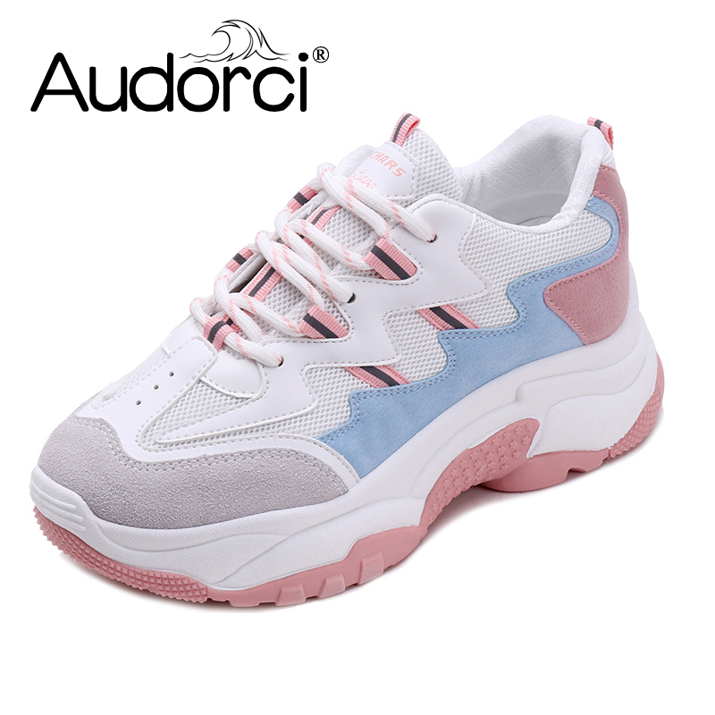 Respirant Maladroit En 35 Couleurs Chaussures pink Air Audorci 3 Femmes Automne Gray Sneakers 2018 40 Taille black Mode Plein Dentelle Casual Femme up w6qOI4