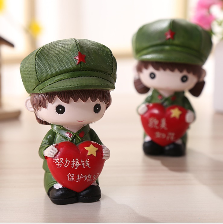Free Shipping New Handicrafts Lettering Little Military Couple Dolls