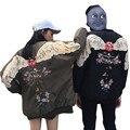 Novio moda alas impreso bordado chaqueta de béisbol de las mujeres 2016 Otoño Invierno Nueva Caliente de Algodón acolchado chaqueta de bombardero