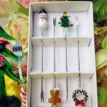 Kitchen dining room Tableware & fruit fork stainless steel gift set creative glass Christmas sculpture decoration dessert