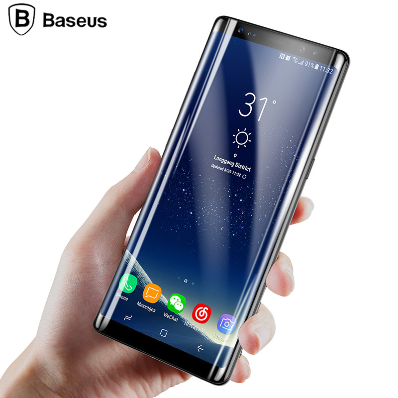 Baseus 3D Edge Screen Protector For Samsung Note 8 3D ARC Tempered Glass Protective Film For Galaxy Note8 Full Screen Glass Film