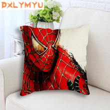 Cartoon Cushion Cover Spiderman Superhero Movie Posters Printed Back Linen Decorative Case Throw Pillow for Sofa
