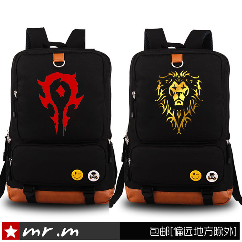 New Fashion Luminous World Of Warcraft Backpack Boy Girl School Bags For Teenagers WOW Game Daily Laptop Canvas Backpack 4 style fvip wow for the horde world of warcraft backpack school bags luminous backpacks tribe alliance nylon mochila galaxia