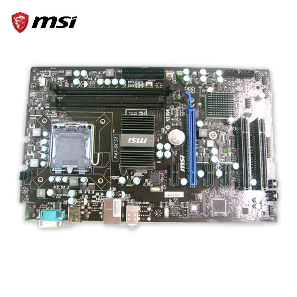 Original MSI P43-SC51 Desktop Motherboard P43 Socket LGA 775 DDR3 8G SATA2 USB2.0  ATX 100% Fully Test socket lga 775 motherboard backplate iron bracket cpu