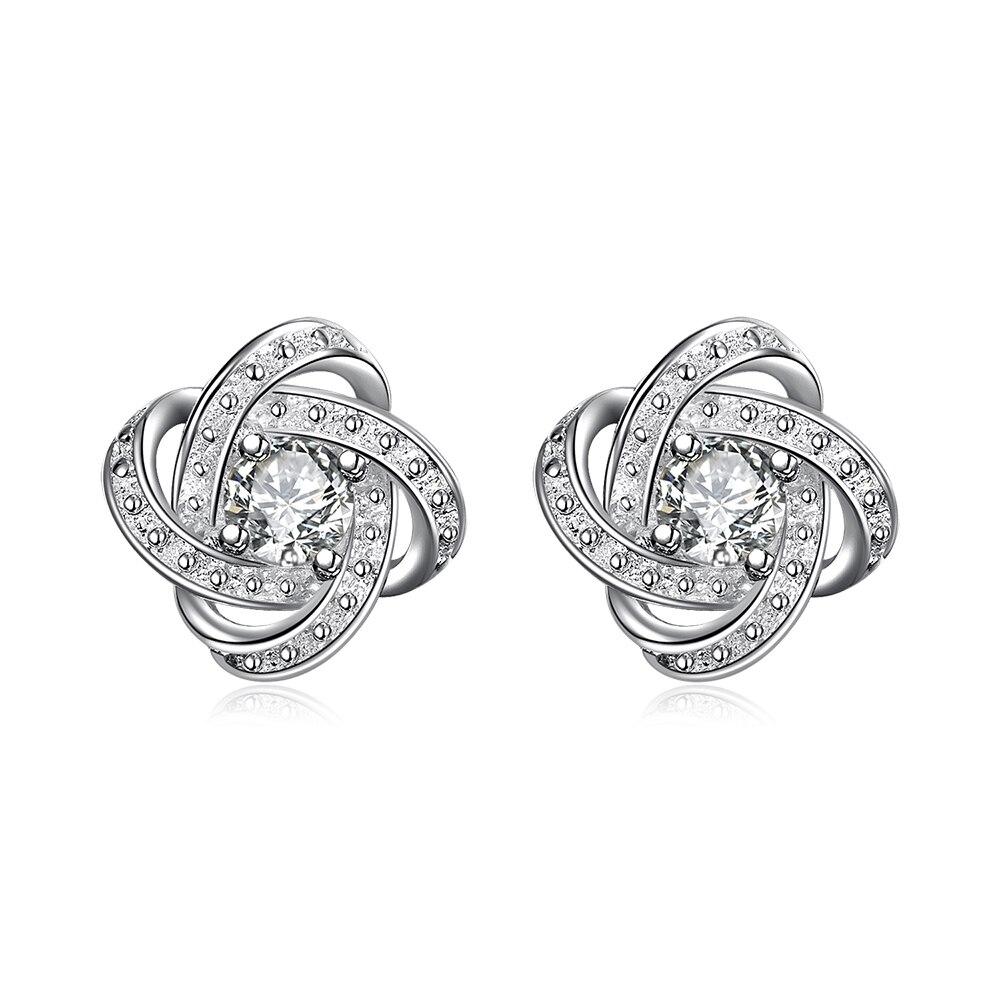 Cor prata elegante popular luxo refinado anulares brincos zircão clássico de venda quente modelos de moda talheres SPE029