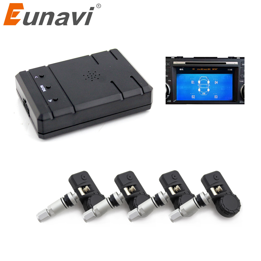 Eunavi Smart Car TPMS Tyre Pressure System Auto Security Alarm Systems for Car DVD video in internal sensors only one audio auto car wireless tpms tire pressure alarm system tpms with 4 internal sensors car diagnostic tool