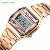 SANDA Hot Golden Men LED Digital Watch Sports Watches Men S Stainless Steel Military Waterproof Wristwatches