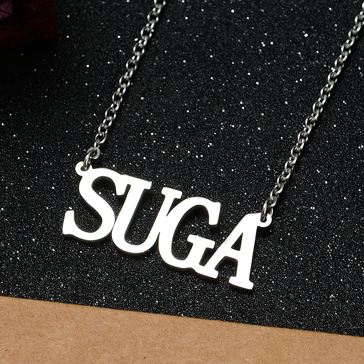 2019 New Style Korean Fashion Kpop Bts Bangtan Boys Suga Name Letter Stainless Steel Pendant Necklace Friend Gift Collection