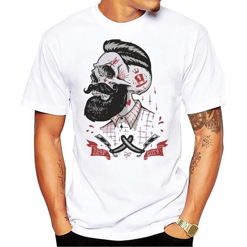 Velocitee Mens Deep Cuts Hipster T-Shirt Barber Shop Barbers Tattoo Beard V43