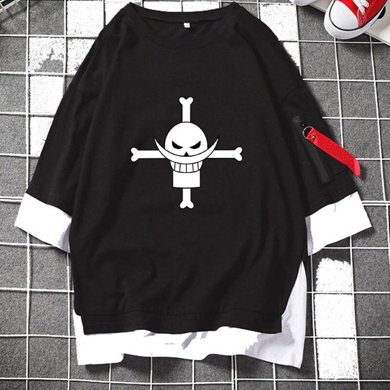 Anime One Piece Whitebeard Pirates Jolly Roger Layered T Shirts Half Sleeve Casual Zipper Loose Tee Streetwear Fashion Mens Top