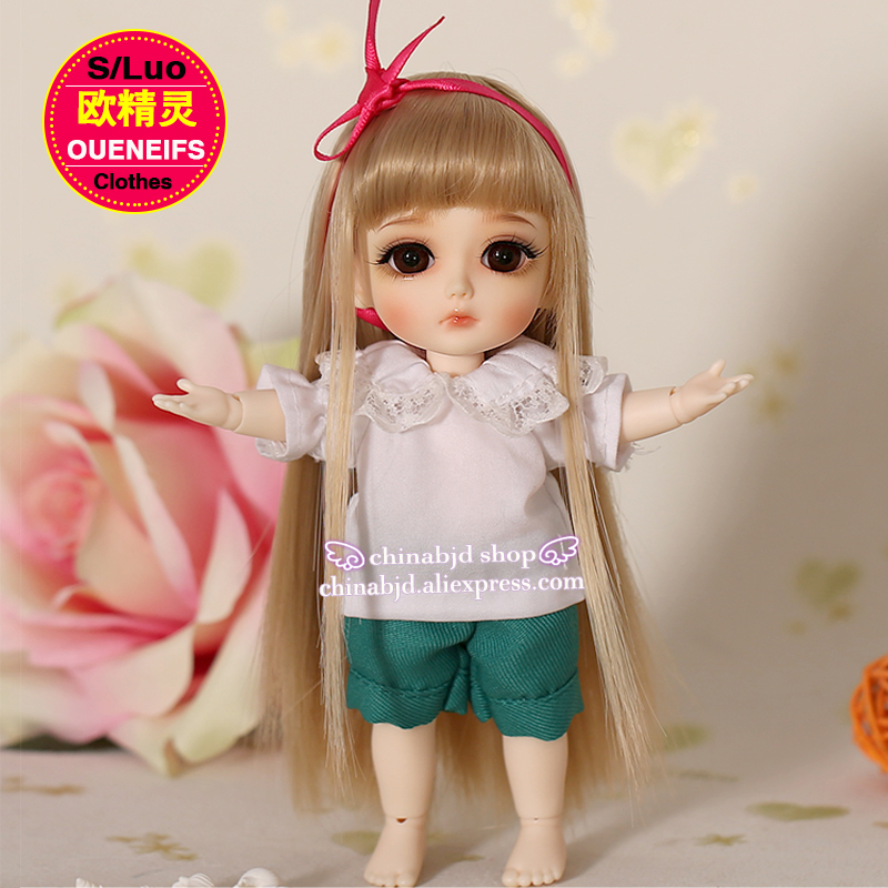 BJD Clothes 1/8 White Princess T-shirt and Shorts Sweet and lovely Suit For Lati Yellow Body YF8 to 12 Doll Accessories 1